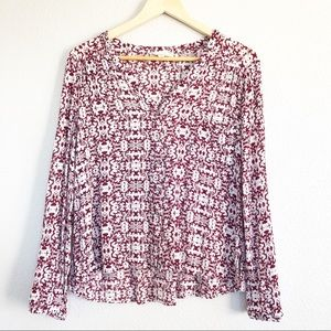 Alythea Bohemian Maroon & White Patterned Top Sm